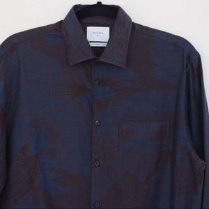 Billy Reid Blue Brown Textured Print Shirt